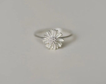Ring——925 Sterling Silver Little Daisy Ring, Tiny Daisy Ring
