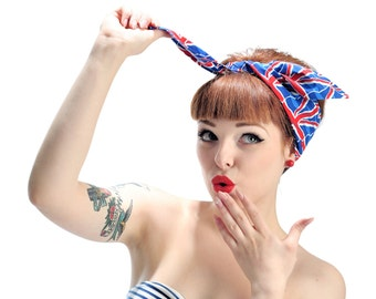 Rock Rockabilly 50s Pin up UNION JACK headband headscarf