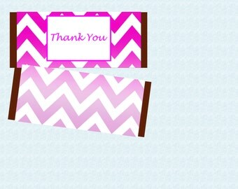 Pink Chevron Thank You Candy Bar Wrappers