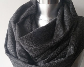 Herringbone scarf  black scarf mens scarf infinity scarf wool scarf men accessories infinity scarf loop scarfFAST DELIVERY