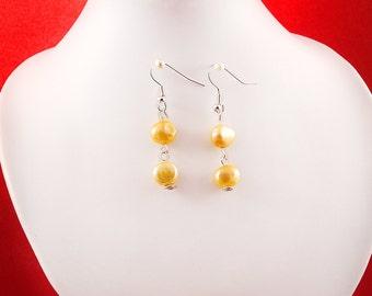 Genuine Apricot CFW Baroque Pearl Earrings