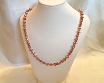 Metallic Rose Gold Long Necklace