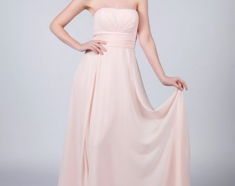 Matchimony Pale Pink Strapless Long Bridesmaid/Prom Dress