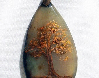 Tree necklace Agate pendant Gift for mom Tree of life Gift for wife Gifts for sister Agate necklace Painted stones gifts for grandma Unique