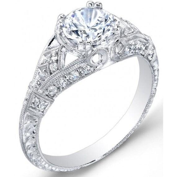 Antique inspired Edwardian style 18k white gold and diamond