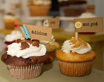 Customized Cupcake Topper Set/Rustic Cupcake Topper Set/Cupcake Label Set