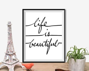 "Inspirational Quote Wall Decor ""Life Is Beautiful"" Typography Print Inspirational Poster Instant Digital Printable Download2"