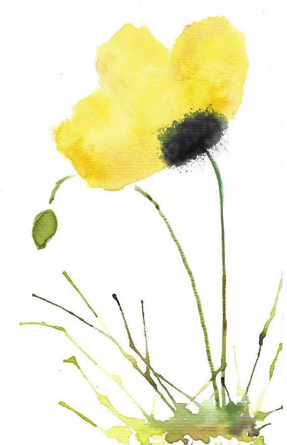 GICLEE PRINT The Little Yellow Poppy Watercolor by ...