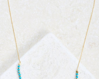Natural Stone Necklace Turquise Lapis  white gold/ rose gold/ yellow gold plated over silver dainty necklace trendy gift idea simple unique