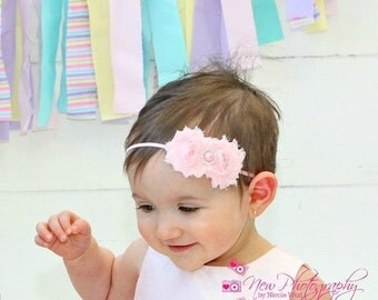 Baby girl headband, pink headband, Shabby Chic, Baby Headband, Toddler Headband, newborn headband, baby shower gift, baby hair bow