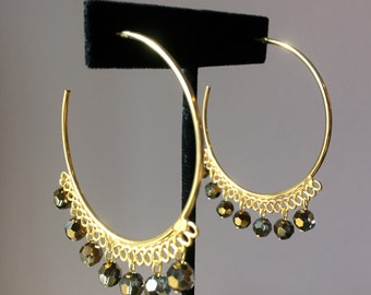 Large Hoop Earrings with Swarovski Beads
