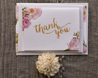 Spring Watercolor Floral Thank You Card on Linen