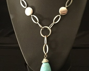 60's Turquoise Pendant Necklace                        VGO987