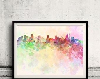 Sao Paulo skyline in watercolor background 8x10 in. to 12x16 in. Poster Digital Wall art Illustration Print Art Wall Decorative - SKU 0002