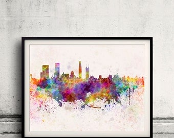 Shenzhen skyline in watercolor background 8x10 in to 12x16 Poster Digital Wall art Illustration Print Art Decorative  - SKU 0098