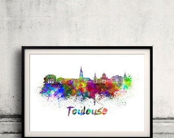 Toulouse skyline in watercolor over white background with name of city 8x10 in. to 12x16 in. Poster Wall art Illustration Print  - SKU 0348