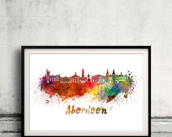 Aberdeen skyline in watercolor over white background with name of city 8x10 in. to 12x16 in. Poster Wall art Illustration Print  - SKU 0355