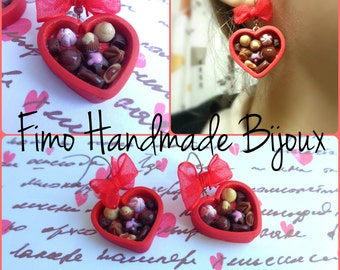 Earrings boxes of chocolates with red bow