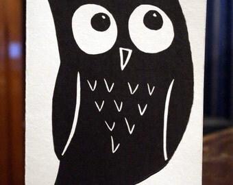 Owl Original Linocut Relief Print Card