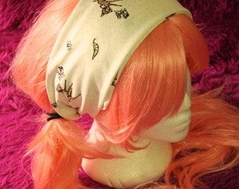 Disney Bambi & Thumper white cotton Bandana Headband, Kawaii, Lolita, Cute, Rockabilly, Pin up style,