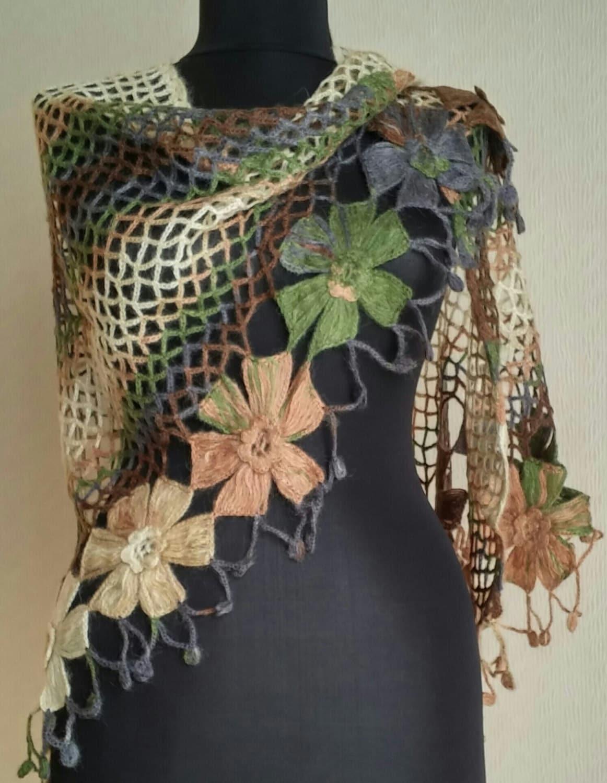 Brown Green Scarf Shawl Flower Crochet Pattern Modern Stylish