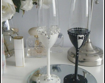 Bride and Groom Glasses/champagne toasting flute set. Hand made and decorated to order.