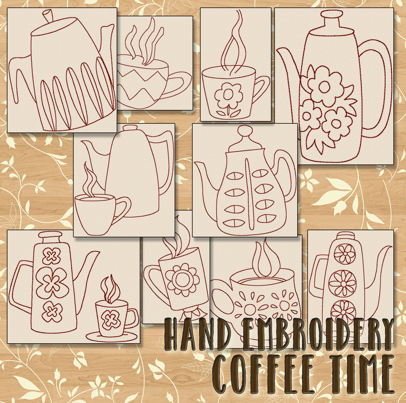 Sale hand embroidery patterns coffee time in 4 sizes pdf instant sale hand embroidery patterns coffee time in 4 sizes pdf instant download 10 designs kitchen needlework teapot retro embroidery designs bankloansurffo Choice Image