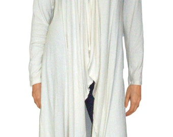 Ooh La La Sweater Knit Long Lightweight Drape Front Cardigan