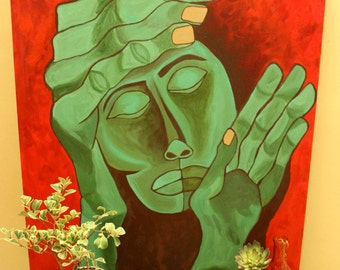 "Large Expressive Unique Male Face with Hands Original Acrylic Painting: ""An Ode to 'Salad Fingers'"" (36 X 48 Inches)"