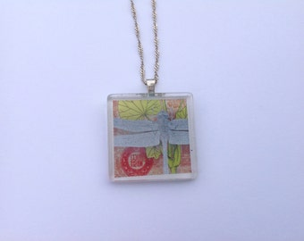 Dragonfly Necklace, Altered Art Pendant, with Silver Chain