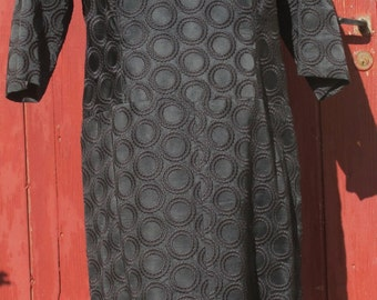 Beautiful Black Brocade Circles Spanish Vintage Dress