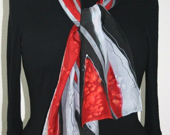 Black Grey Silk Scarf. Red Hand Painted Silk Shawl. Hand Dyed Scarf CRIMSON MOUNTAINS. Size 8x54.  Birthday Gift, Anniversary Gift.
