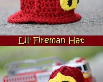 Fireman Crocheted Hat, Fire Station, Newborn Hat, Photo Prop, Rescue Hero, Fire Hat