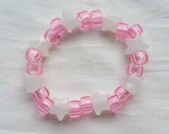 Pink and White Star Beaded Bracelet