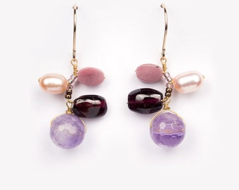 Earrings Yeppo purple pink pearl sweet elegant gold