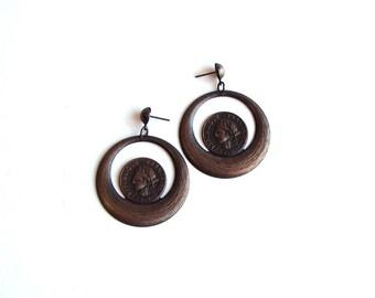 french coin earrings . vintage earrings . dangle earrings . 1808 france costume jewelry