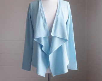 Womens Cotton Open front Cardigan Long Sleeve Cardigan Lightweight Jersey Sweater fly away blouse - Made to order,