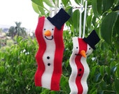 1 Bacon snowman ornament - Carrot nose, coal buttons, and hat! Christmas Holiday themed breakfast treat - two options meaty or fatty bacon