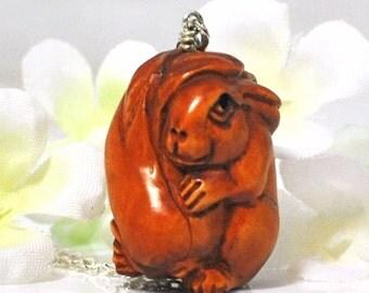 Bunny Ojime Rabbit Necklace Penelope - Bunny Pendant - Bunny Rabbit