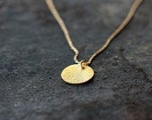 Gold Disk Necklace, Gold Filled Necklace, Simple Everyday Necklace, 14k Gold Filled Layering Jewelry, Dainty Tag Necklace, Gold Disc Jewelry