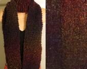 Hand Knit Scarf Wool Silk Boucle Plum Prelude yellow brown blue green purple