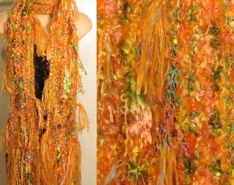 Hand Knit Pot Luck Scarf Citrus orange yellow pink green blue gypsy boho