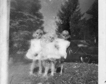 Their Sunday Best FREE SHIPPING Surreal Photo Print Creepy Little Girls Skulls Evil Children Vintage Black & White Gray Dark Art Haunting