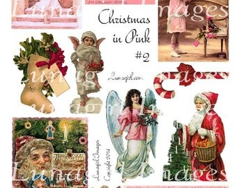 Bright PINK CHRISTMAS digital collage sheet Victorian Santa angels vintage images altered art candy cane ephemera supplies crafts DOWNLOAD