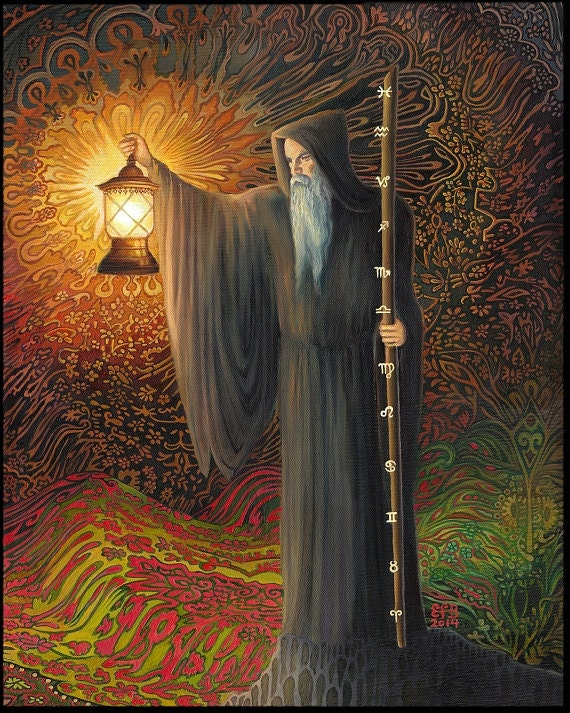The Hermit Tarot Psychedelic Art Original Oil Painting