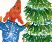 Dachshund ACEO, Rocking around the Christmas Tree Original Weiner Dog  Art