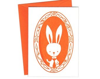 Mr. Bunny Notecards Set of Three Gocco Print Cards