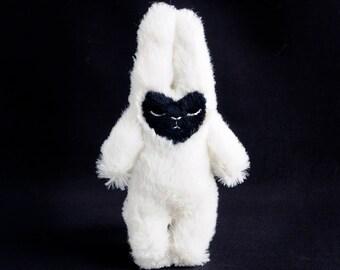 Sad Bunny - sleepy plush friend doll -super fuzzy off white