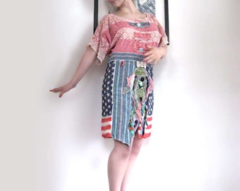 Marina Dress, Fish, Stars, Stripes, Red, Pink, Blue, Americana, Australia, Cheesecloth, Tunic, Boho