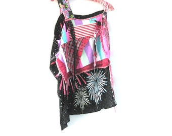 Punk Top, Stripe, Recycled Clothing, Tartan, Plaid, Japanese Silk, Dance, Boho, Hip Hop